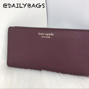 KATE SPADE NEW LARGE BIFOLD SLIM CHERRYWOOD WALLET